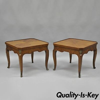 Pair of Henredon Walnut French Country Louis XV Style Low Side End Tables Vtg