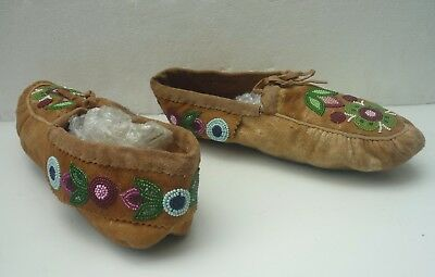 VINTAGE CREE BEADED beadwork MOCCASINS The Pas First Nation Reserve, Manitoba