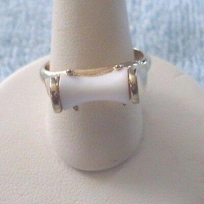 Sarah Coventry White Lucite Goldtone Adjustable Ring