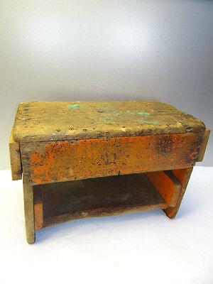 Vintage Used Old Handmade Woood Wooden Workshop Bench Footstool Antique?