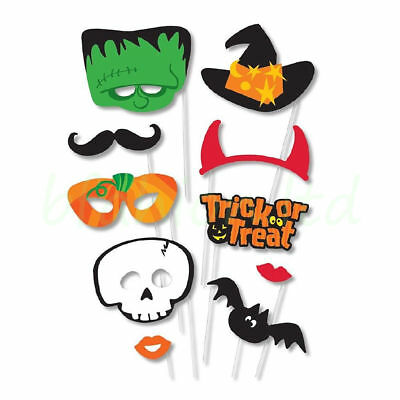 Scary Halloween PHOTO BOOTH PROPS Selfie Pack of 10 Halloween Party Decorations
