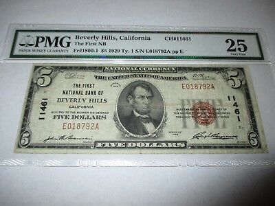 $5 1929 Beverly Hills California CA National Currency Bank Note Bill! #11461 VF