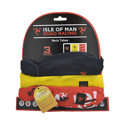 Isle OF Man TT Black Red Yellow  - Neck Warmer- Neck Tubes Pack of 3