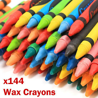 144 x Wax Crayons Pack Assorted Colour Kids Pencil Set School Children Colouring