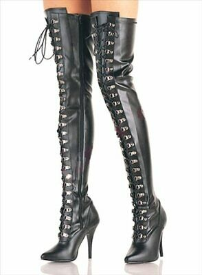 """New Adult toys Thigh High Boots 3324m Black 4"""" Size 10"""