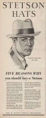 1928 John B Stetson Hats Styled for Young Men Five Reasons Why 1920s Fashion Ad
