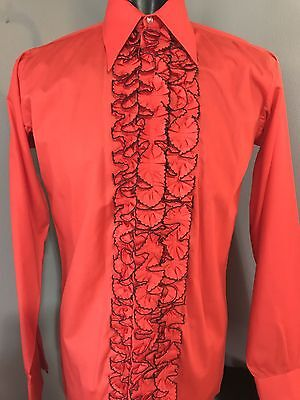 Mens 1970's Red Ruffled Tuxedo Shirt with black trim XS & Small only