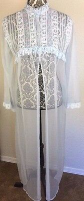 Bernette New York Vintage Sheer Robe With Bell Sleeves.  Baby Blue, S