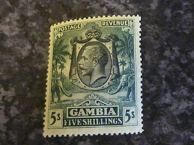 Gambia Postage Revenue Stamp Sg141 5/- Green/yellow Lmm