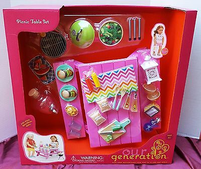 New American Our Generation Journey Girl Doll Picnic Table Food Grill Barbecue +