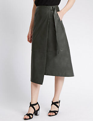 NEW M&S Faux Leather Wrap Midi Skirt Size 8 10 12 14 16 18 20