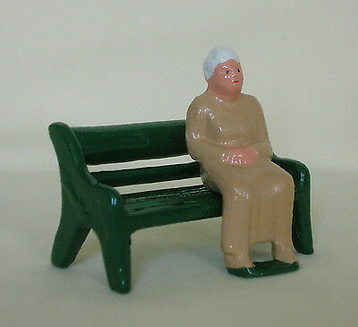 Old Woman seated on a bench, G scale train figure, Grey Iron Reproduction