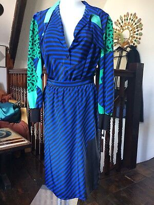 Vintage 80s 2 Piece Skirt Suit Striped Electric Blue Black Green Cold War Chic