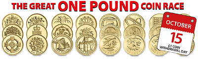 Rare British £1 Coins, One Pound, 1983-2017, Capital, Flax, Floral, Coin Hunt