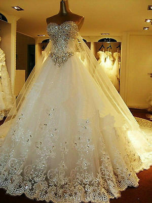 2017 Luxury Bling Bling Crystal Cinderella Princess Bridal Ball Gowns Custom