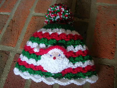 Christmas baby hat + booty set. Newborn. Handmade. New. Unique. Shower gift.
