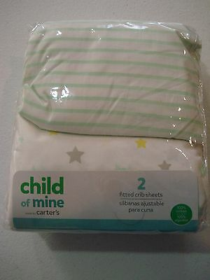 Carter's Child of Mine 2 Pack Neutral Fitted Crib Sheets NEW Unisex