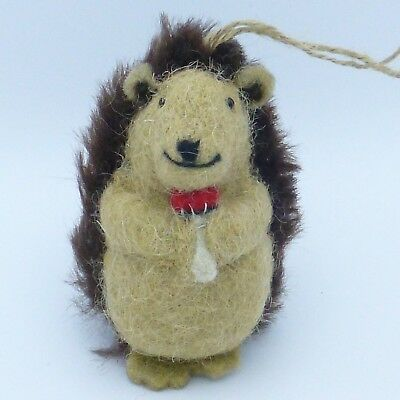Felted Wool Hedgehog with Mushroom Christmas Ornament Woodland Animal 4.5""