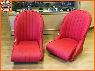 Pair Red BB Vintage Classic Car Bucket Seats Low Rounded Back Ideal For MGA