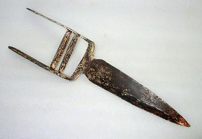 1810's Antique Old Iron Hand Carved Work Indo Persian Mughal Katar Dagger Sword