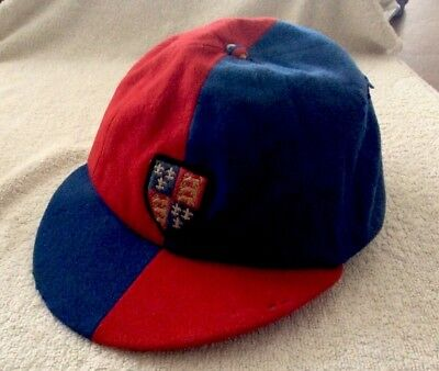 Vintage Old Schoolboy Cap - Red / Blue With Embroidered Badge