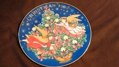 "1995 Avon Porcelain Christmas Plate, ""trimming The Tree"", Trimmed In 22K Gold"