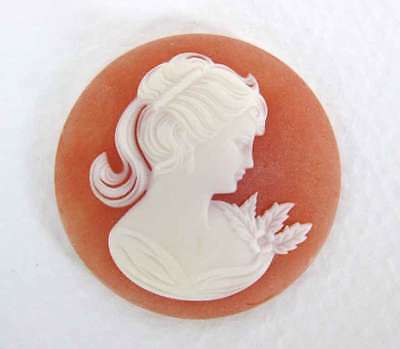 Vintage Cameo White Lady Carnelian Resin Plastic Cabochon 30mm