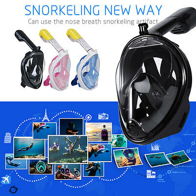 *Full Face Snorkeling Mask Scuba Diving Swimming Snorkel Breather Pipe for Gopro