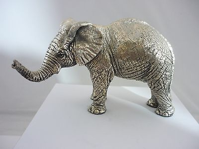 Stunning Large Vintage Sterling Silver Young Elephant By Country Artists