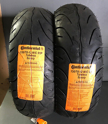 PAIR - 120/70-12 (51P) & 130/70-12 (56P) Continental tubeless Scooty - TWO TYRES