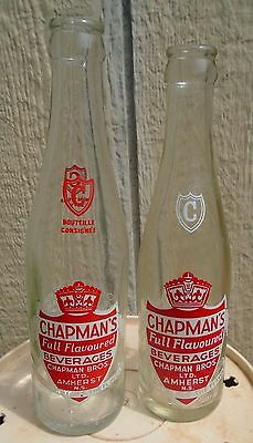 VINTAGE 1960s CHAPMAN'S BEVERAGES 8 OZ/10 OZ ACL SODA POP BOTTLES - AMHERST, N.S
