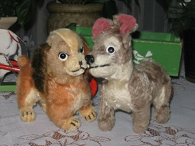 Antique Schuco Disney 1950 Lady and The Tramp Mohair Dogs