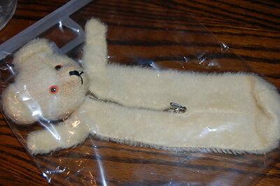 Antique 1960s Germany Mohair Bottle Bear Bag or Pencil Case Zippered Rare MIB