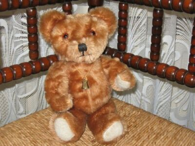 Hermann Germany Vintage Mohair Teddy Bear 12 inch with Bell