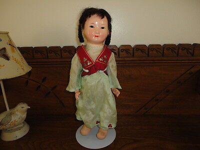 Antique Asian Chinese Doll Celluloid & Cloth Stuffed 12 inch Silk Outfit