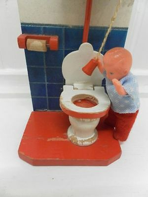 Antique Europe Wooden Handmade Toilet Restroom Flushes ! 1950's Doll House RARE