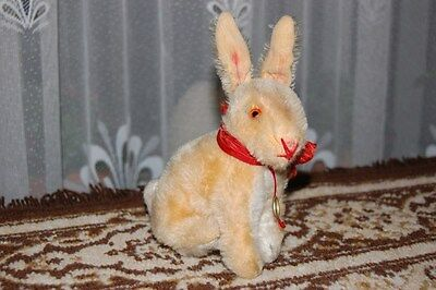 Old Antique 1950s Hermann Germany Beige Mohair Bunny Rabbit With ID