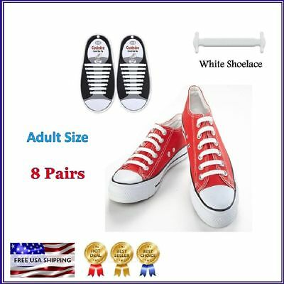 Hickies Elastic Responsive Lacing System Laces Sports Adult size White 16 pack
