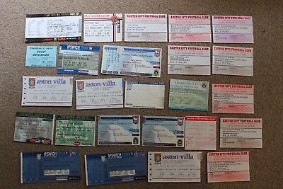 Bundle / Job Lot x25 Used FOOTBALL TICKET Stubs (1993-2005) Villa Exeter Argyle