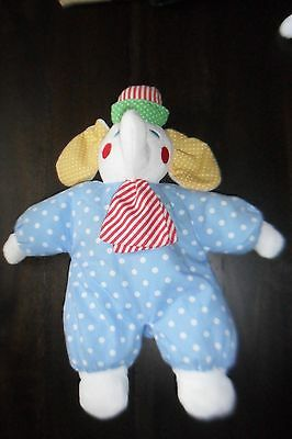 "14"" Vintage Eden Clown Elephant Stuffed Animal Blue White Polka Dot Plush Doll"