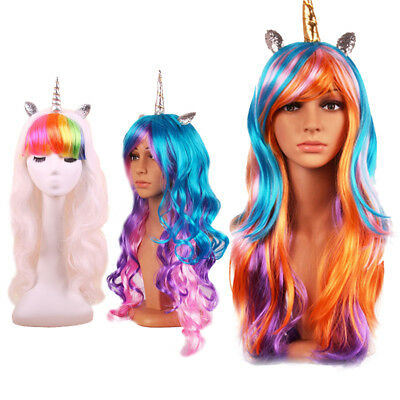 Halloween Colorful Long Curly Wig Rainbow Unicorn Gothic Cosplay Drag Race Wig !