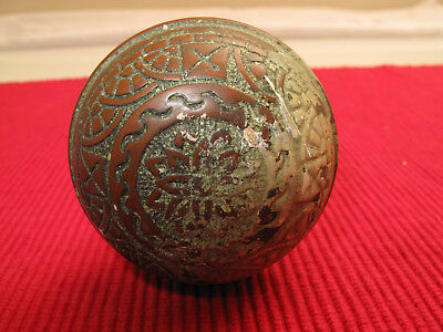 Antique Brass Ornate Eastlake Victorian Doorknob Floral Intricate