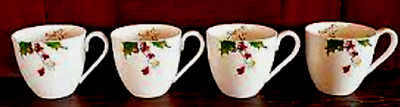 LENOX ~ WINTER SONG ~ Set Of 4 ~ Cafe Coffee Cups ~ NIB ~ Beautiful