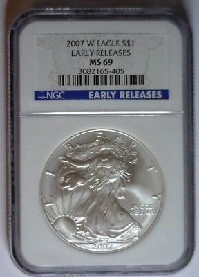 2007-W BURNISHED NGC MS69 Silver Eagle EARLY RELEASES MS 69 Blue Label