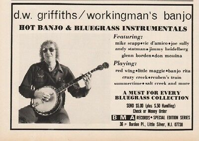 1978 BMA Records DW Griffiths Workingmans Banjo Bluegrass Album Print Ad