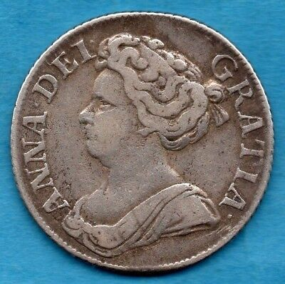1711 Queen Anne Silver Shilling Coin.