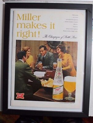 "1970s PLAYBOY / MILLER HIGH LIKE Beer Print Ad MANCAVE / 8.25""x10.75"""