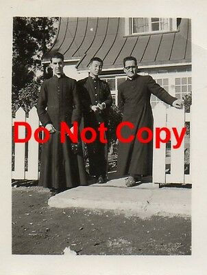 2 Orig 1955 JAPANESE Pics #21-22 PRIEST with Colleagues & Students JAPAN Vintage