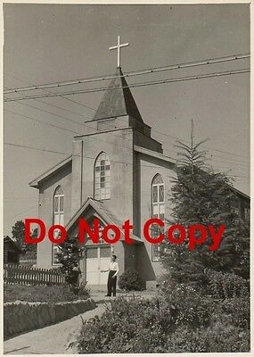 Original JAPANESE Pic # 6 – Priest by Church in OMINATO JAPAN circa 1955 VINTAGE