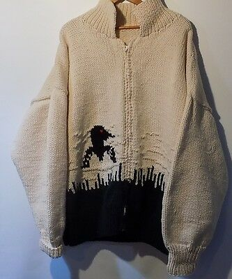 VTG Hand knit Loon wool Cardigan sweater xl cottage country Mary Maxim design